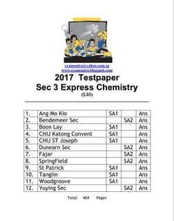 <hard copy> 2017 Sec 3 chemistry express top school exam papers