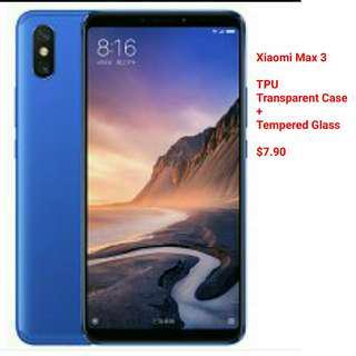 Xiaomi max 3 tempered + transparent tpu case