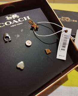 ✨ COACH STUD EARRINGS SET OF 5 MULTI COLORED ASSYMETRICAL