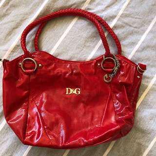 D&G red leather handbag genuine
