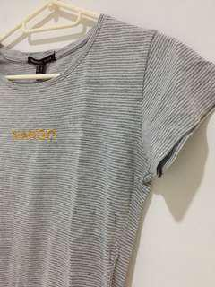Authentic Mango Tee - Gray Stripe with Logo