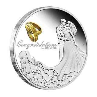 最佳婚禮禮物! 澳洲2018結婚精鑄銀幣1盎司連禮盒