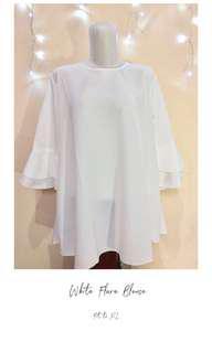 (NEW) White Flared Blouse Atasan Putih