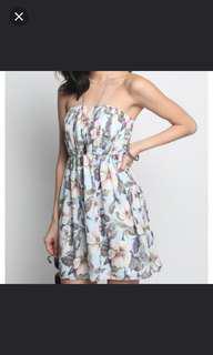 Love bonito abrienda floral printed tube dress in blue, LB