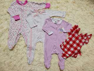 Baby girl sleepsuits and romper set (0-6m)
