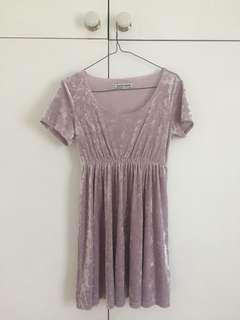 American Apparel pastel lilac velvet babydoll mini dress