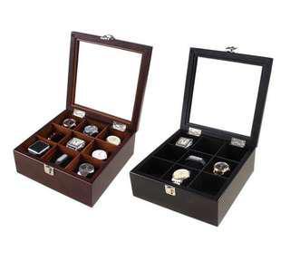 🚚 (現貨)時尚實木手錶盒 手錶收納盒 首飾收納盒 收藏盒 展示盒 首飾盒 珠寶盒 手環 飾品 項鍊 手錶 名錶 棕色9格款
