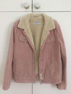 Pink corduroy denim borg jacket ghanda