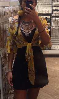 Yellow floral cardigan/ top