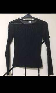 H&M Black Sheer Top