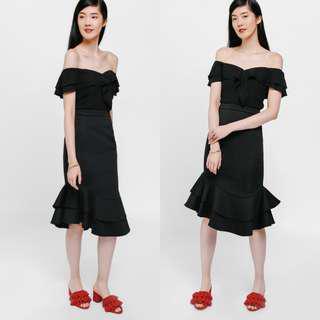 Love Bonito Maxyn Asymmetrical Layered Ruffle Skirt (Black) S