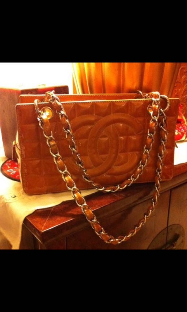 e17c03a6d373ae 💯 Authentic Chanel Mustard Patent Petite Timeless Tote Bag, Luxury ...