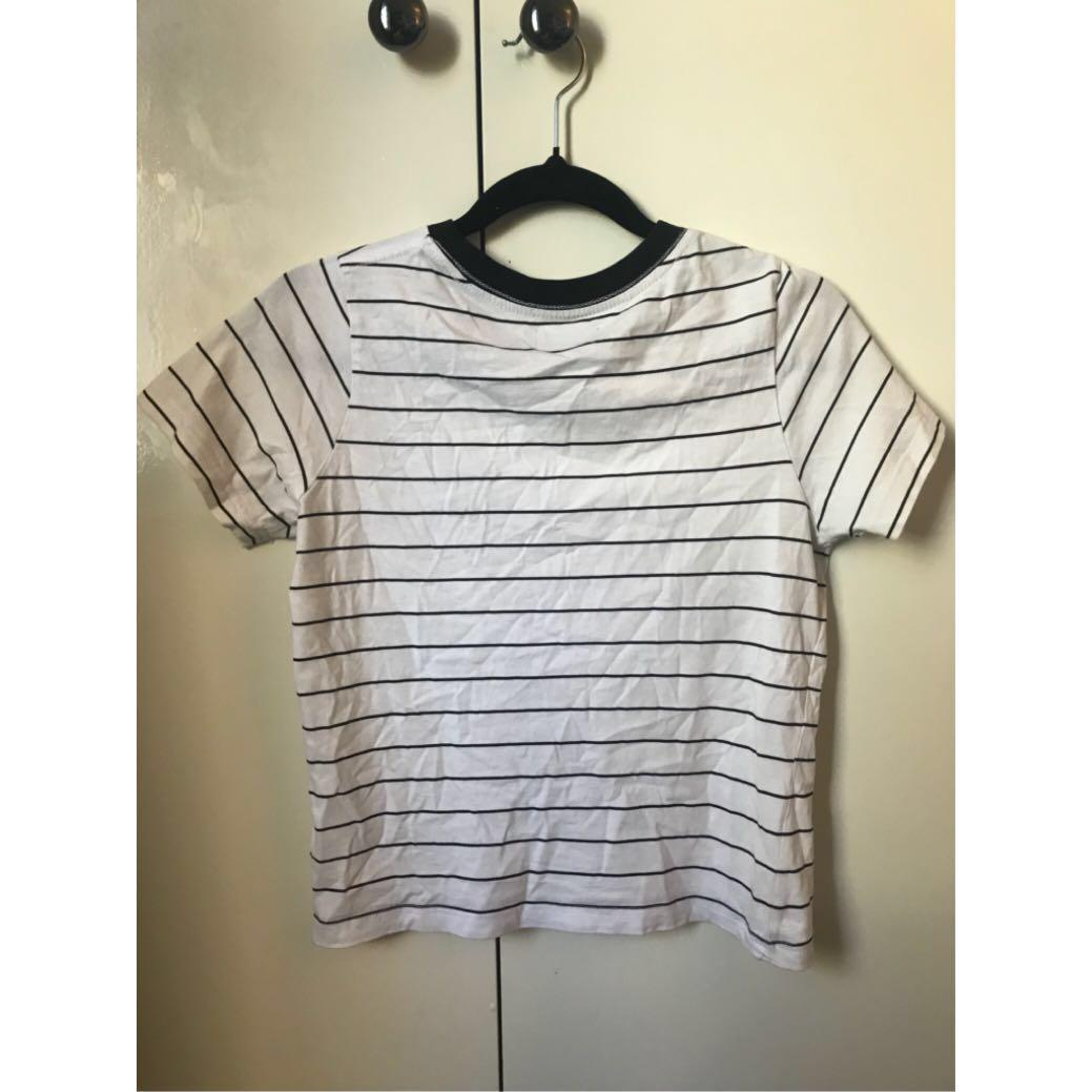 Afends striped tee black and white