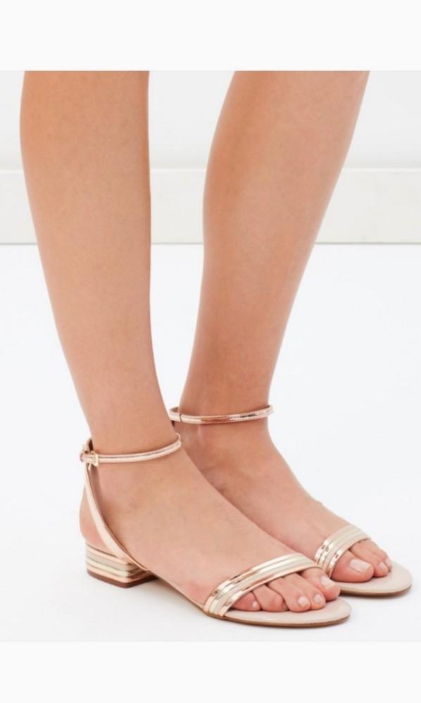 c7db82e9b8a8 Aldo Izzie Heeled Sandals in Metallic Rose Gold