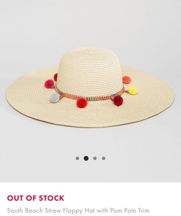 b15f041125cdb ASOS South Beach Straw Floppy Hat with Pom Pom