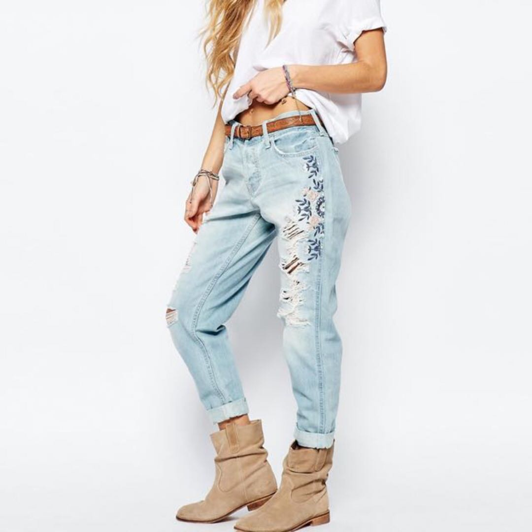 Authentic Boyfriend With Jeans Embroidery Hollister k0OPnw