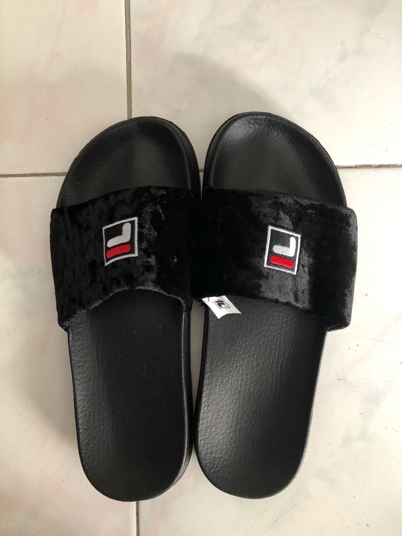 9b0db8e41108 Brand New Black Fila Fur Slides