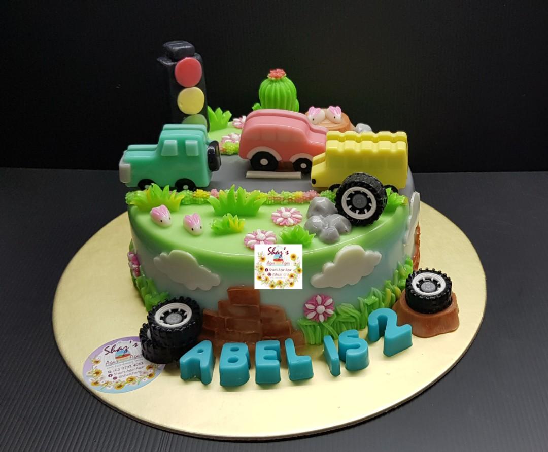 Car Transportation Theme Jelly Agar Birthday Cake Food Drinks