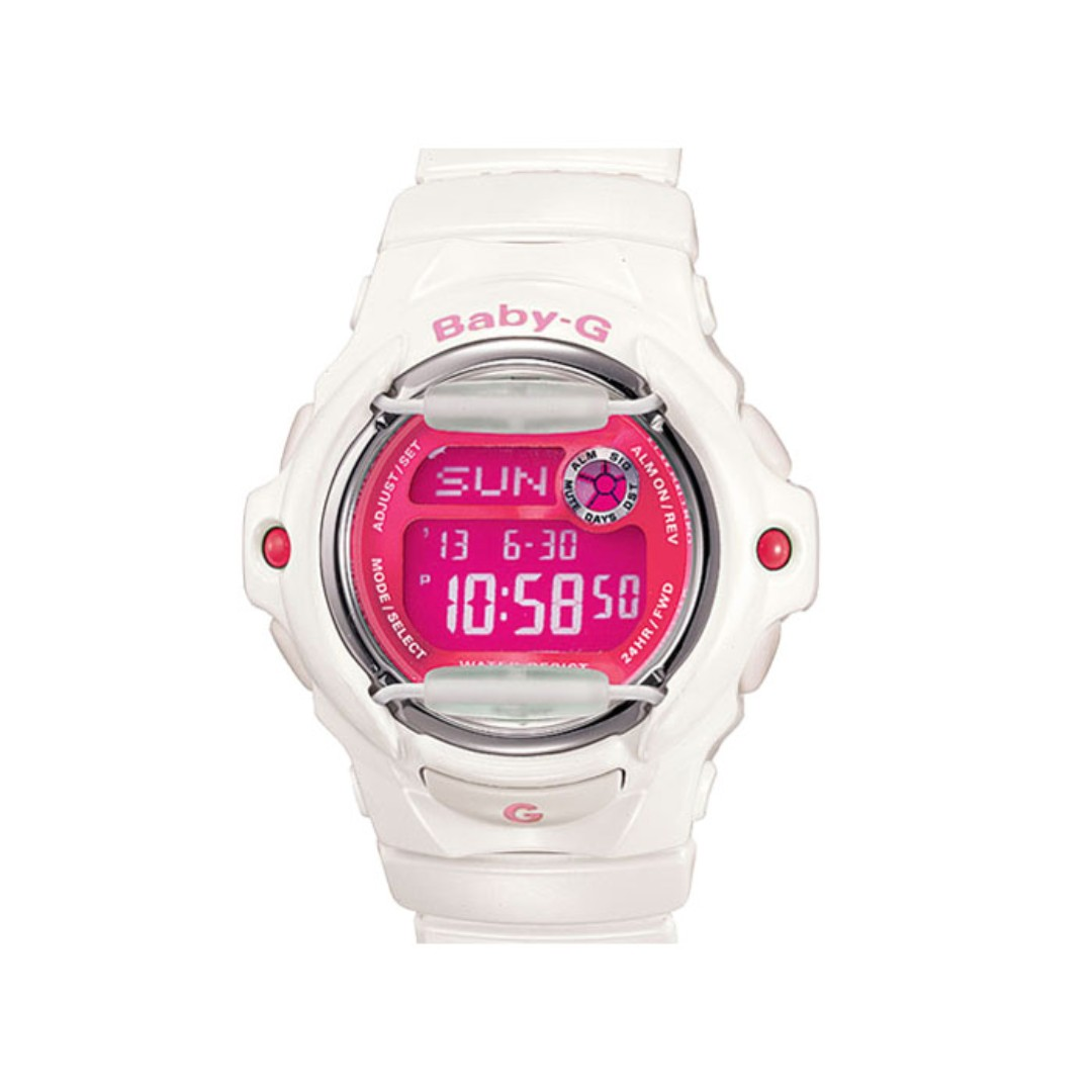 b7f3d5af0e24 Casio Baby-G Digital Telememo Glossy White Pink Resin Sport Ladies ...