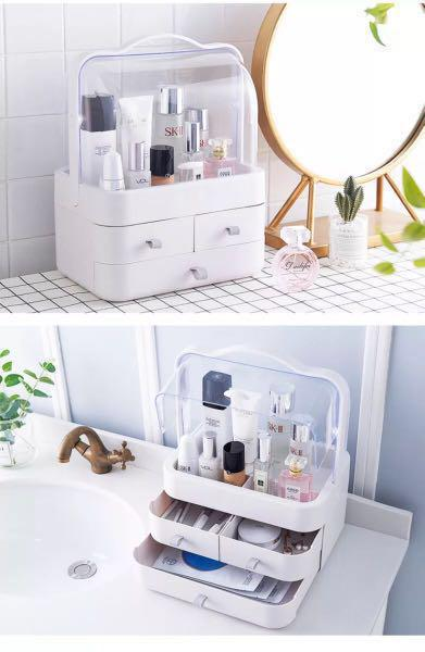 Cosmetic storage organizer dust proof container