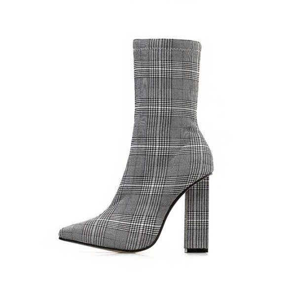 147a1fb75cb Euro Plaid Chunky Heel Pointed Mid Calf Boots