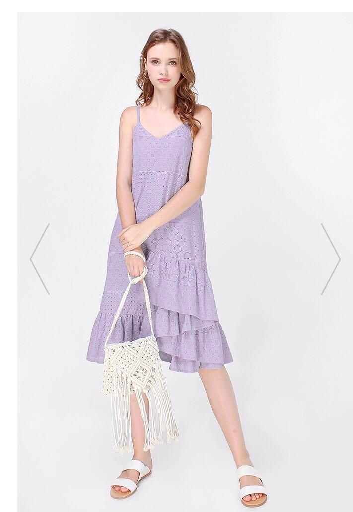 8b2abec401c Fayth Thea Eyelet Dropwaist Midi Dress, Women's Fashion, Clothes ...