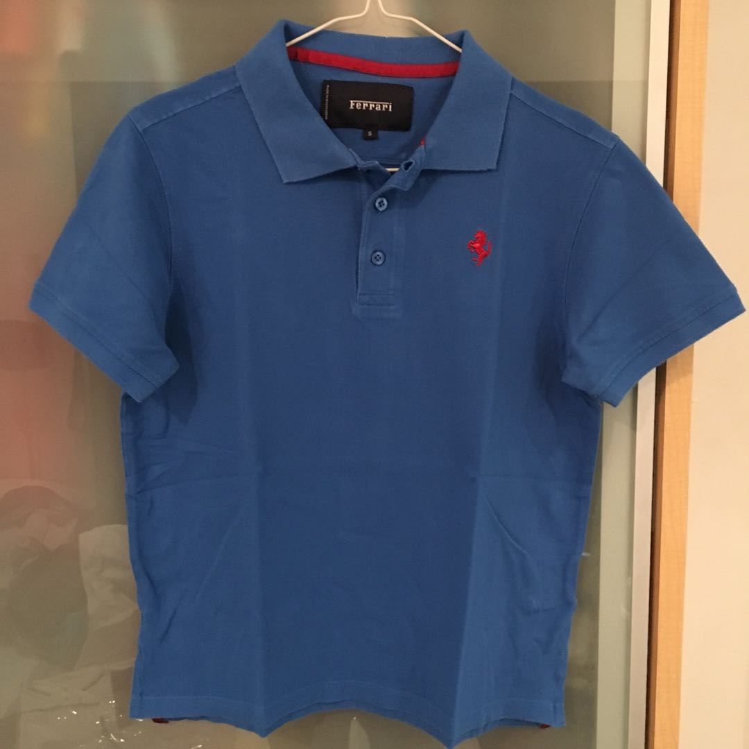 209344b979be Ferrari Polo Tee Blue Size S, Men's Fashion, Clothes, Tops on Carousell