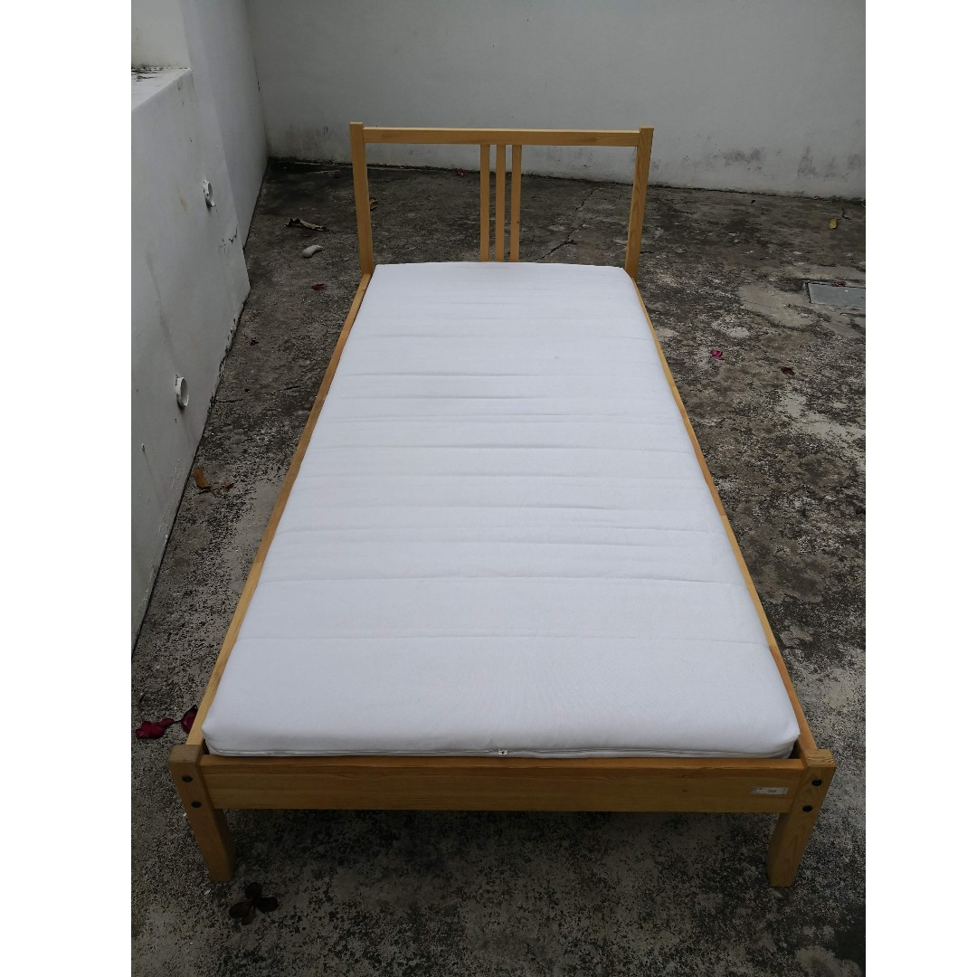 Ikea Single Wooden Bed In Pine Matras Extra Gift Furniture