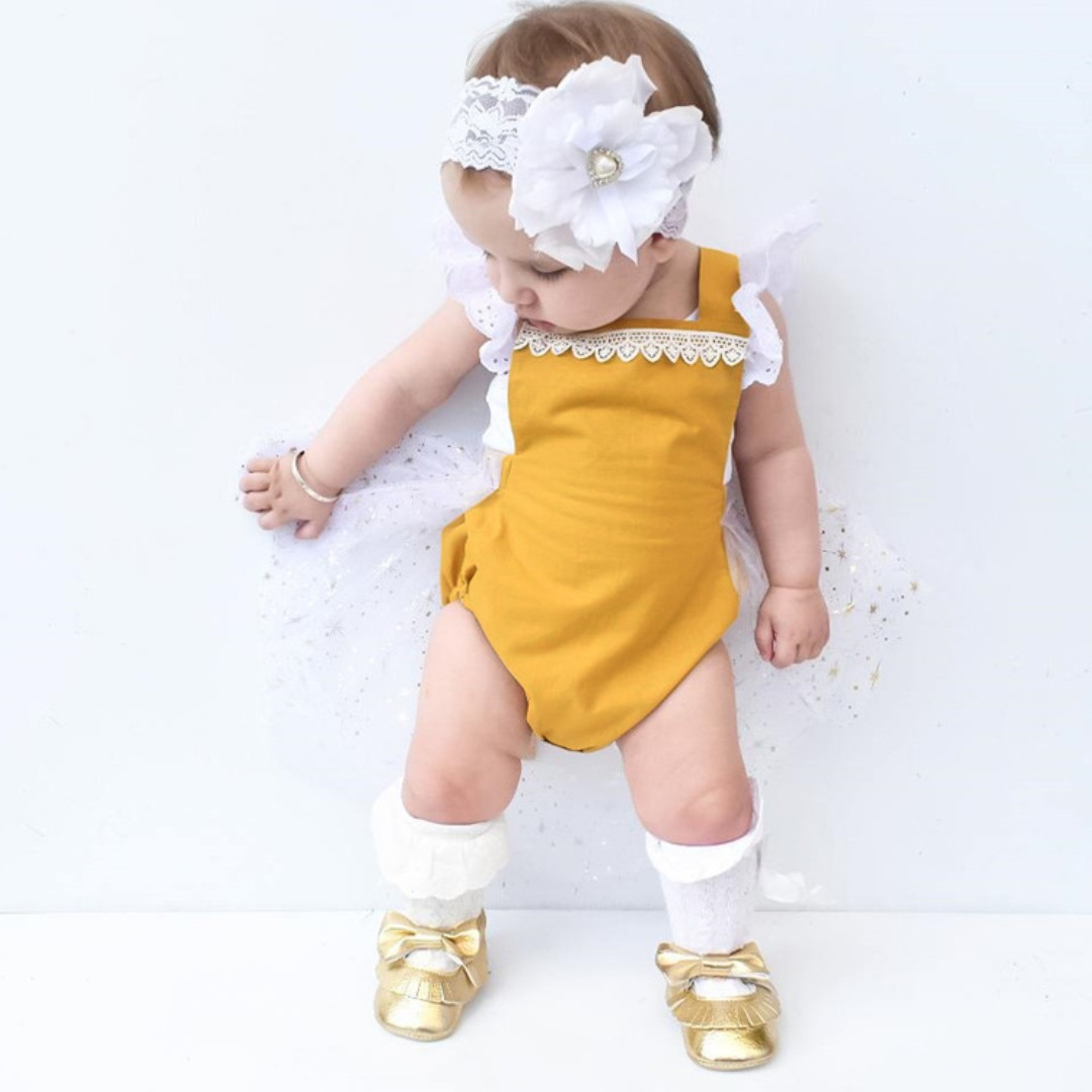 f56be1bcfa9 🌟INSTOCK🌟 Yellow Mustard White Lace Newborn Baby Party Romper with ...
