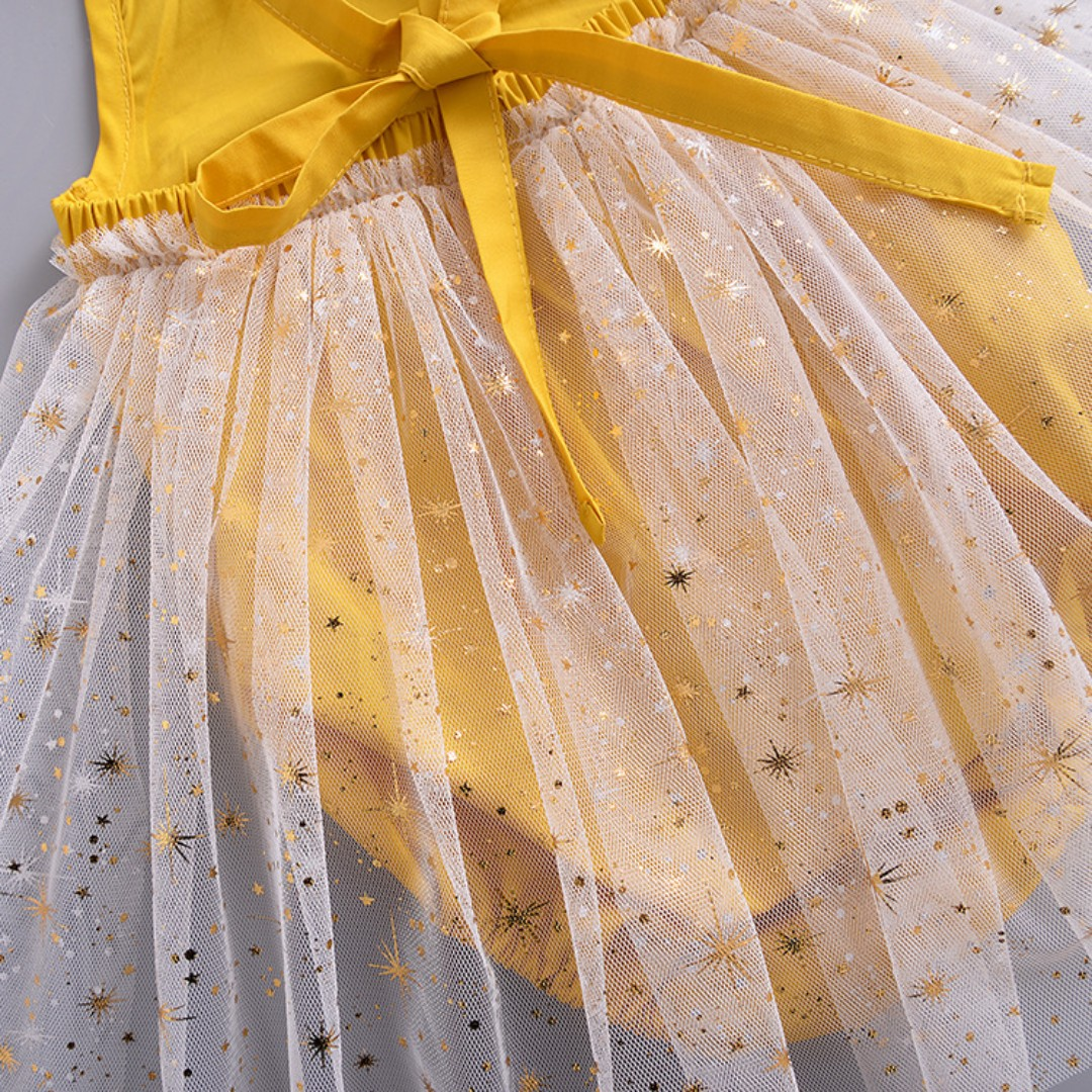 0a0bb2c9ce7 🌟INSTOCK🌟 Yellow Mustard White Lace Newborn Baby Party Romper with Stars  Tulle Frock Mesh Kids for girls