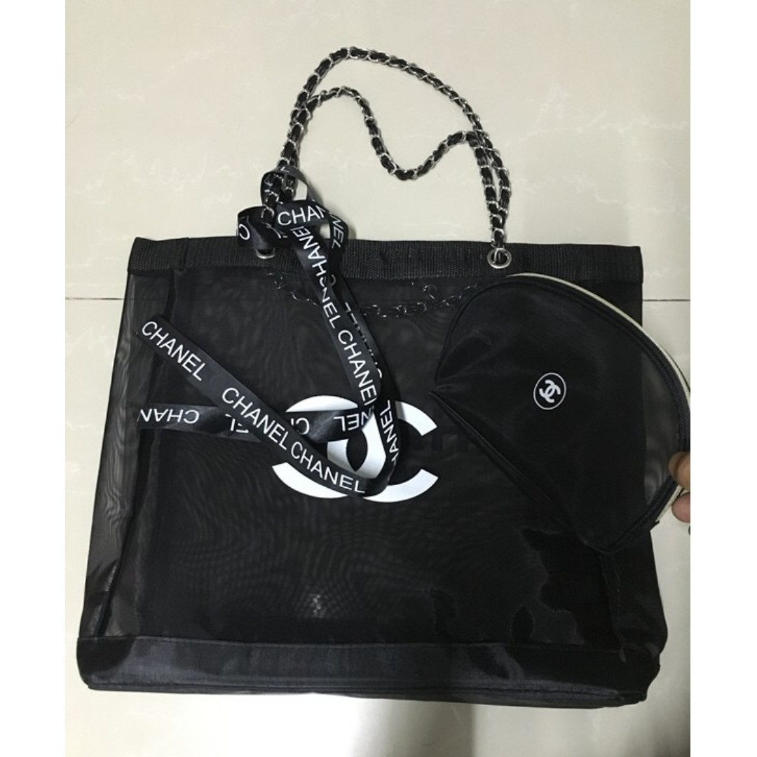a86e4cfc3a88 ⚡PO SALE⚡ CHANEL Makeup Chain Strap Mesh Tote Bag (Black - White ...