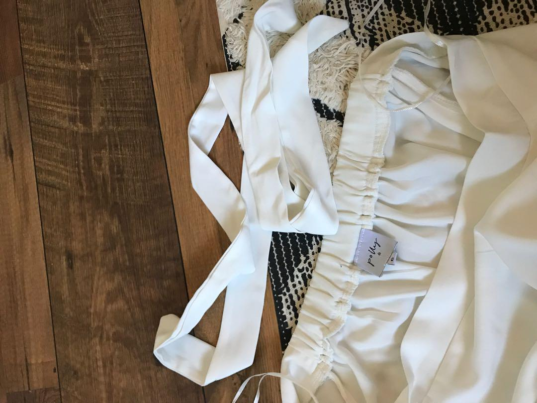 Princess Polly White Playsuit Off the Shoulder