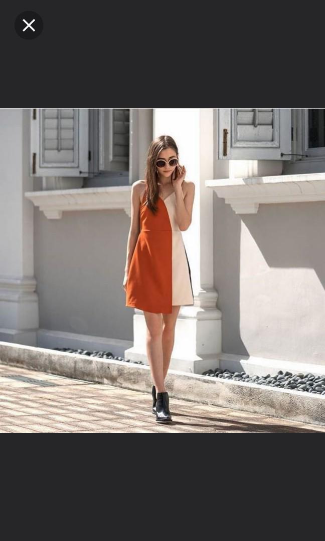 The Closet Lover TCL Overlap Dress in Burnt Orange