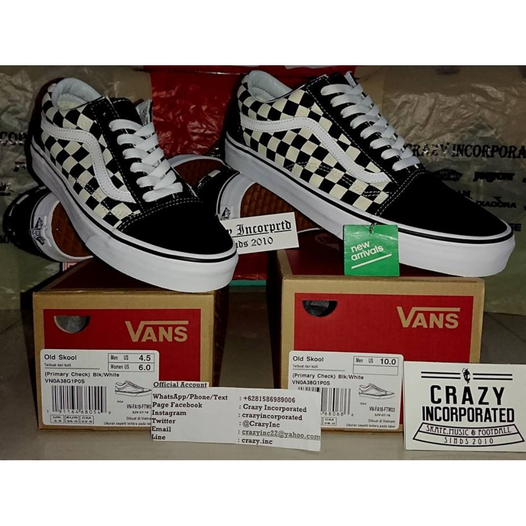 297ac6b7e08d06 Vans Old Skool Primary Checkerboard Black White Original