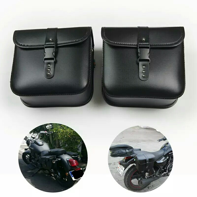 9bd804d89463 XL883 XL1200 Motorcycle Saddle Bags For Harley Sportster XL 883 XL 1200 Pu  Leather Side Tool Bag Luggage Black