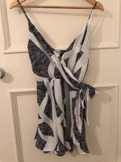 Blue and White Tie Up Playsuit - Size 8