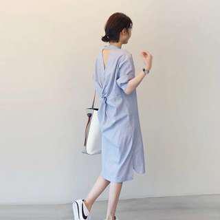 [NEW] Casual Stripe Bare Back Loose Dress