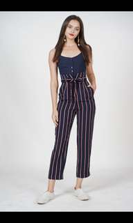 2c667743e0fd MDS Self-Tie Cami Jumpsuit in Navy Stripes