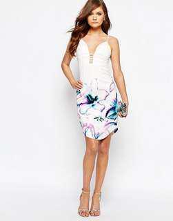 ASOS Ginger Fizz Colour Block Floral Pencil Dress