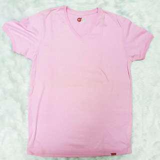 Bench Men Pink V-Neck Plain T-Shirt Top