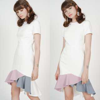 MDS Color-Block Mermaid Dress (White) XS