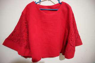 Top atasan brokat crop