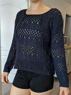 Navy knit sweater with faux leather trim