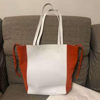 Celine Tote Bag White Leather and Orange Suede Horizontal Medium Cabas Tote Bag 白色橙色真皮手袋