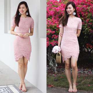 Lace & Ebony Yves Lace Dress (Blush) S