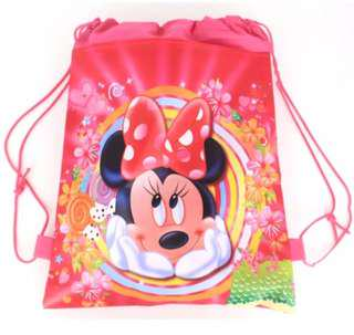 Pink plastic draw string bag