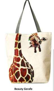 Tote bag printed canvas giraffe with zipper