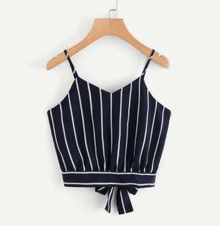 Navy Blue Stripped Back Tie Top