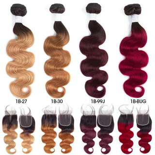 Raw colored human hair bundles