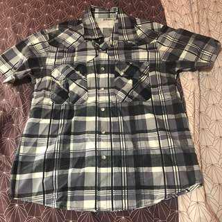 Plaid button down shirt - small